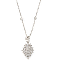 Sterling Silver And Cz Vintage Style Necklace