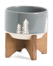 Ceramic Planter On Wood Stand