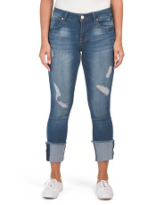 Distressed Deep Rolled Skinny Jeans