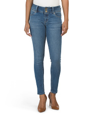 High Waist Triple Button Skinny Jeans