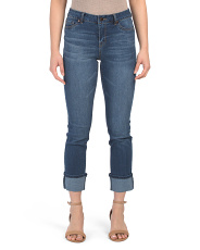 High Waisted Wide Rolled Cuff Skinny Jeans