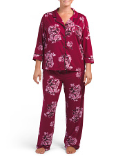 Plus Notch Floral Pj Set