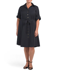 Plus Button Front Shirt Dress
