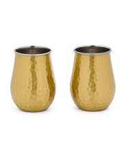2pk Hammered Stainless Steel Stemless Wine Glasses