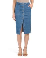 Juniors Denim Midi Skirt With Buttons