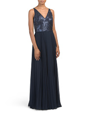 Sequin Cross Back Gown With Pleated Skirt