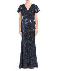V-neck Sequin Gown With Flutter Sleeves
