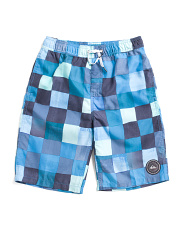 Boys Resin Check Volley Boardshorts