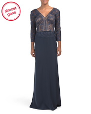 Three-quarter Sleeve Crochet Crepe Gown