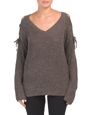 Lace Up Shoulder Detail Sweater