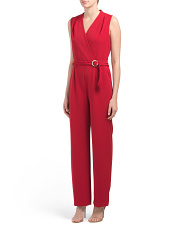 Sleeveless Surplice Jumpsuit