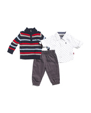 Infant Boys 3pc Sweater And Jogger Pant Set