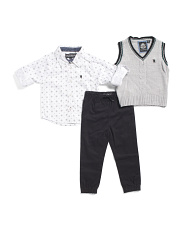 Toddler Boys 3pc Sweater Vest And Jogger Set