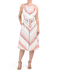 Printed Linen Blend Halter Dress