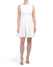 Linen Blend Seamed Dress