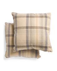 20x20 2pk Plaid Pillow With Suede Back