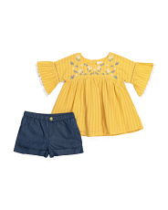 Toddler Girl 2pc Boho Embroidered Top & Short Set