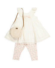 Toddler Girl 3pc Eyelet Tunic & Capri Set With Purse