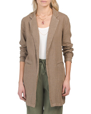 Long Sleeve Open Front Linen Jacket