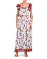 Printed Bubble Crepe Maxi Dress
