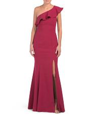 One Shoulder Ruffle Gown