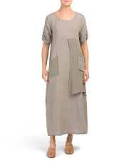 Made In Italy Mixed Linen Maxi Dress