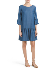 Made In Italy Ruffle Hem Denim Dress