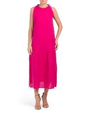 Made In Italy Linen Drop Waist Maxi Dress