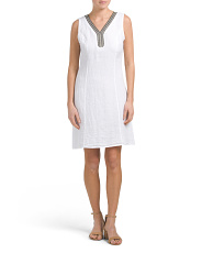 Made In Italy Linen Blend Beaded Shift Dress
