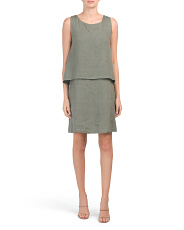 Made In Italy Sleeveless Popover Linen Dress