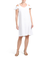 Made In Italy Linen Ruffle Cold Shoulder Dress