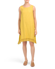 Made In Italy Crochet Hem Linen Dress
