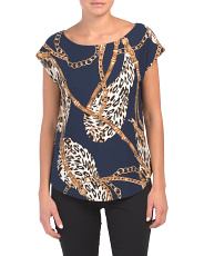 Made In Usa Animal And Chain Printed Top