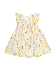 Toddler Girls Flutter Sleeve Pom Dress
