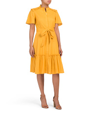Stretch Ruffle Tiered Linen Dress