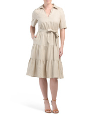 Stretch Linen Tiered Dress