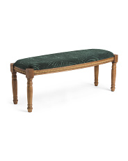 Wooden Bench With Green Leaf Fabric