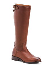 Back Zip Leather High Shaft Boots