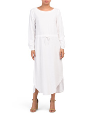 Drawstring Linen Blend Midi Dress