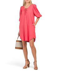 Puff Sleeve Linen Blend Dress