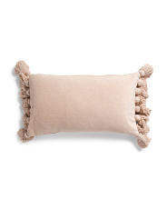 14x24 Soft Chenille Large Tassel Pillow