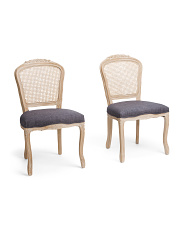 Set Of 2 Cane Back Dining Chairs