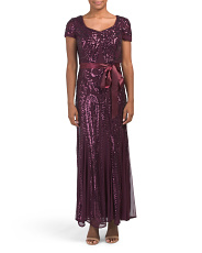 Petite Embroidered Sequins Panel Gown