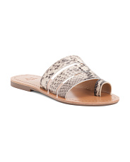 Toe Ring Snake Leather Flat Sandals