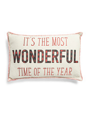 16x26 Wonderful Time Of The Year Embroidered Pillow