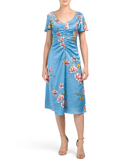 V-neck Ruched Front Floral Midi Dress