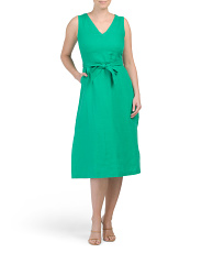 Linen V-neck Tie Waist Midi Dress