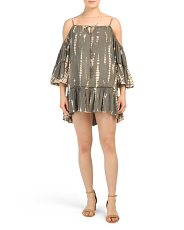 Juniors Tie Dye Brass Beaded Dress