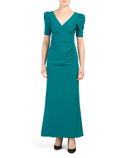 Petite Puff Sleeve Ruched Gown