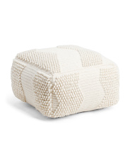 Wool Blend 3d Loop Textured Pouf